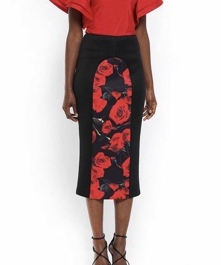 Roses Are Red Midi Skirt UPSK639-ROSESARERED
