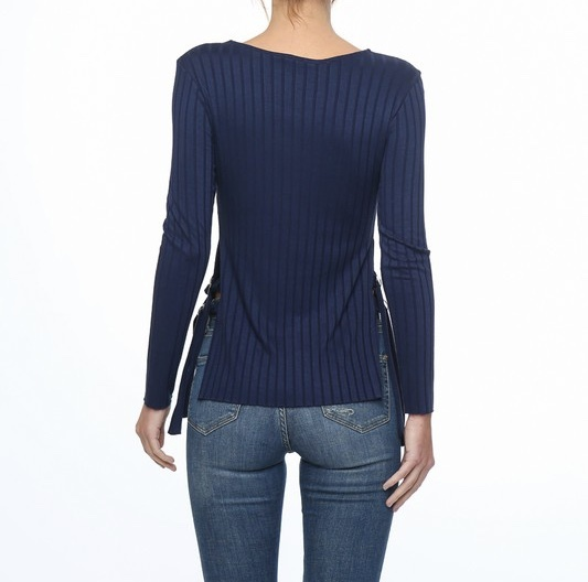 Blueberry Mist Ribbed Top Back View