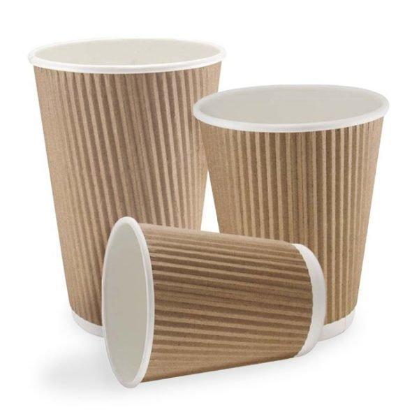 10/12oz Kraft Double Walled Ripple Paper Cups (1 X 500)