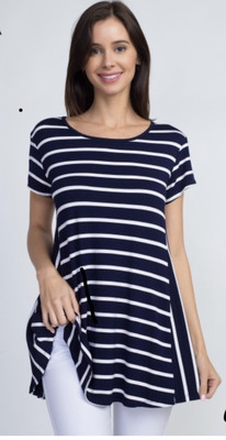 Navy Slope Striped Top