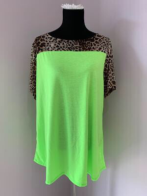 Neon Green With Cheeta Print Sleeves Plus Size