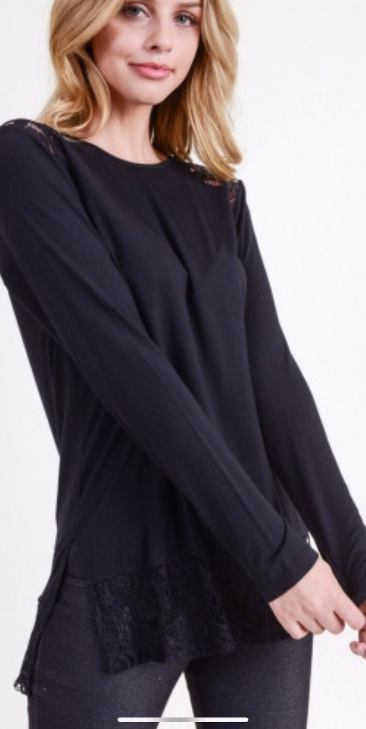 Black Long Sleeve Top With Lace Detail