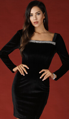 Black Crushed Velvet Dress W/ Rhinestone