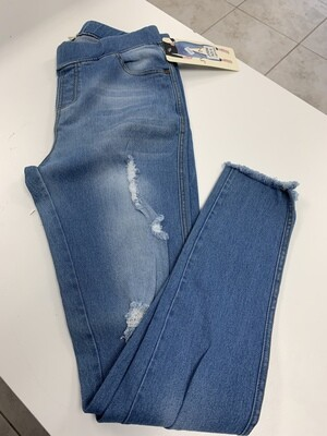 Distressed Jeggings with Frayed Ankles