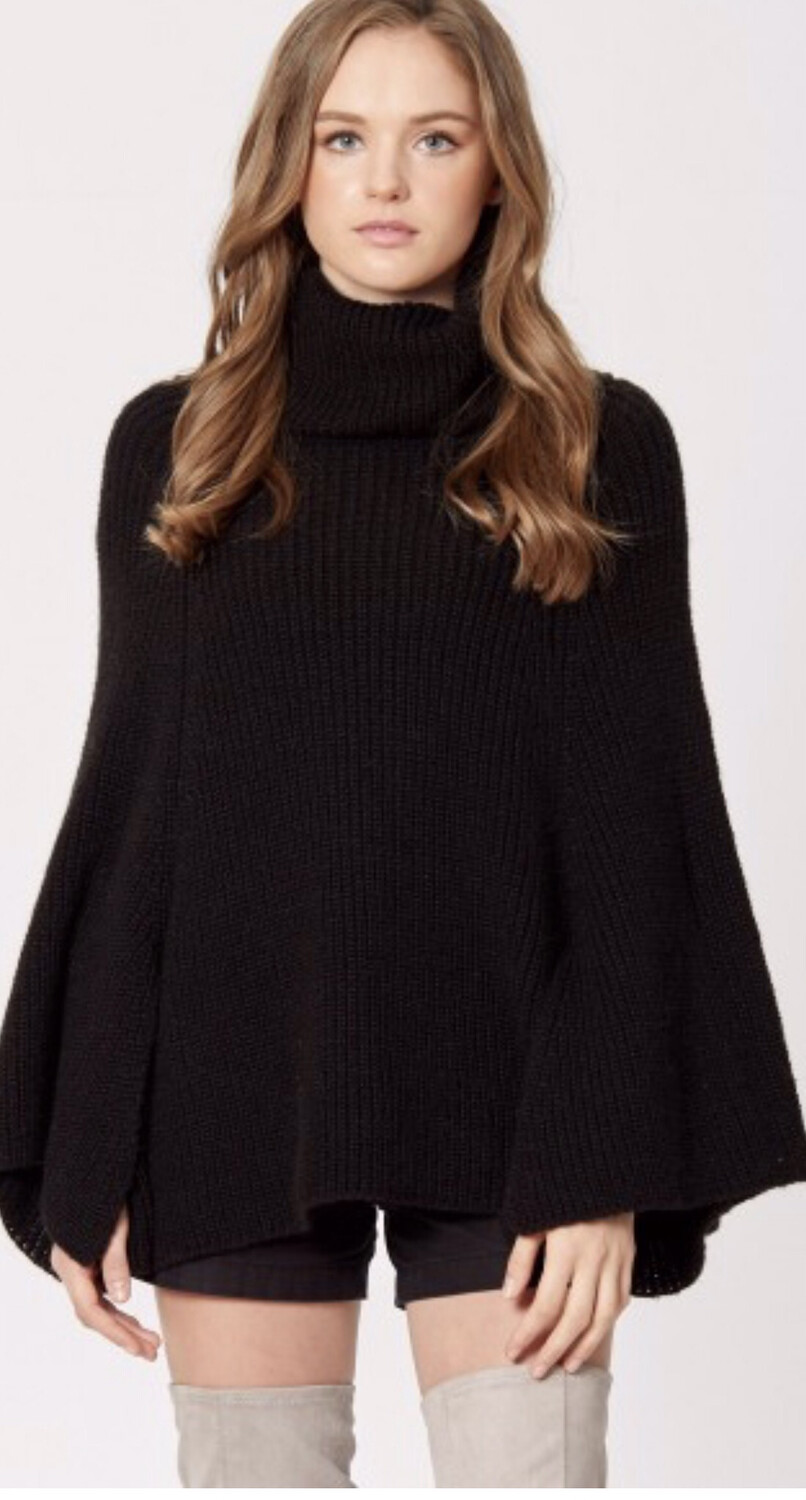 Solid Color Marled Woven Turtleneck Poncho