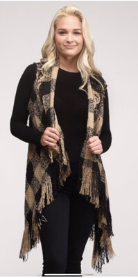 Soft Buffalo Checkered Vest With Fringes