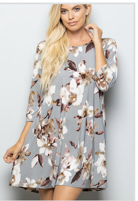 Multi- Muted Floral Dress