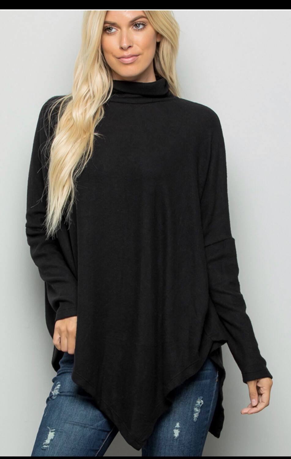 Black A-Symmetrical Turtleneck