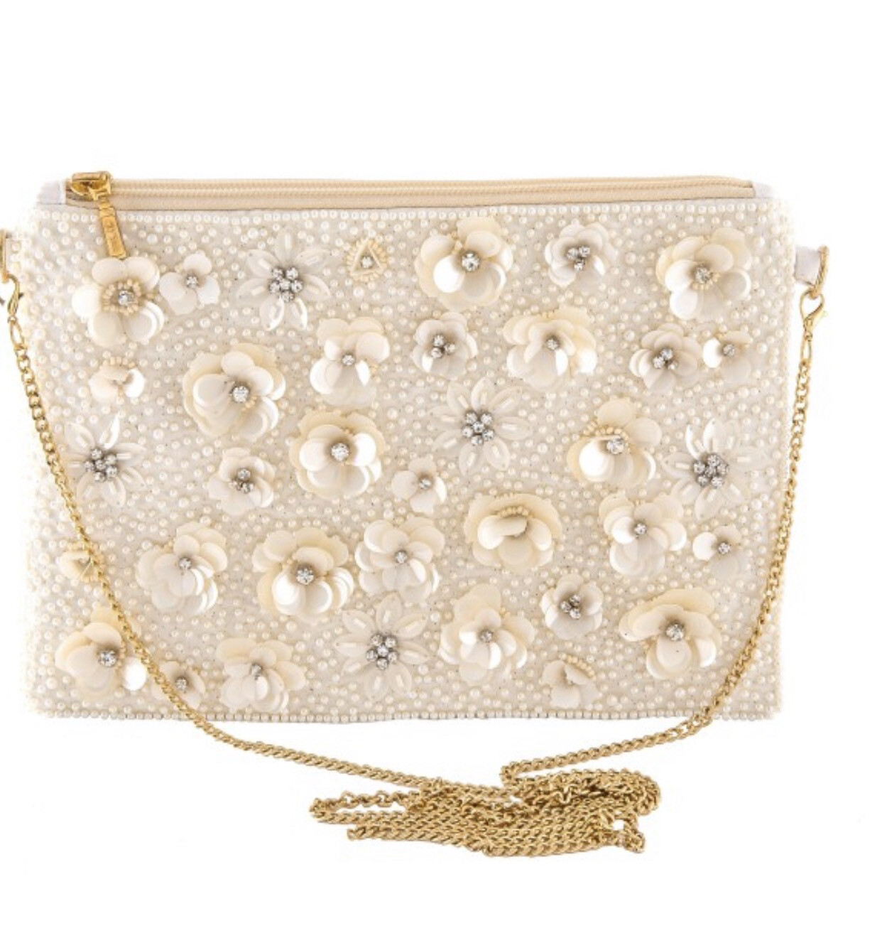 High Quality Cream Colored Pearl Beaded Handbags With Sequin Flowers