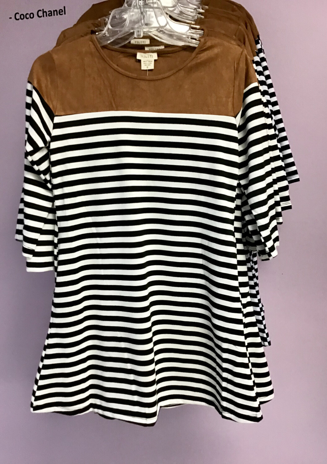Striped Dress With Suede Shoulders