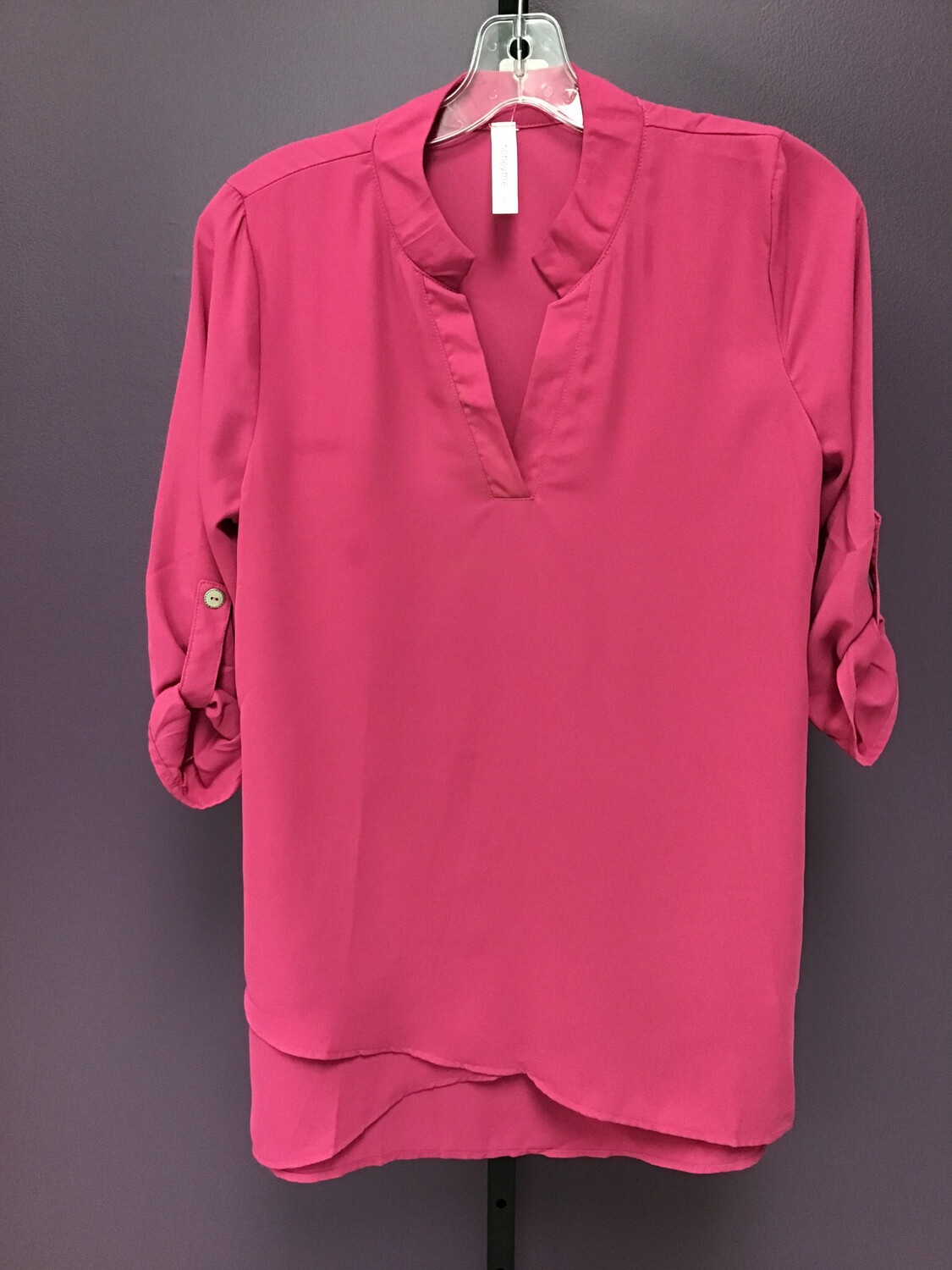 Pink 3 /4 Button Sleeve Top