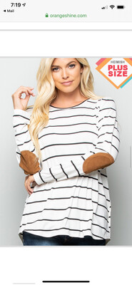 White Striped Top W/ Suede Elbow Patches