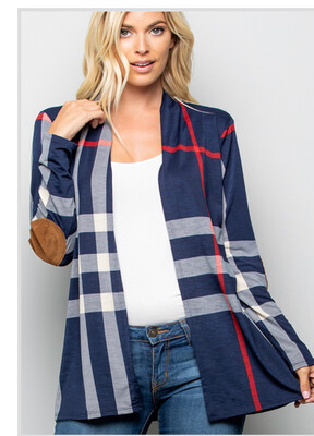 Navy Plaid Cardigan W/Suede Elbow Patches