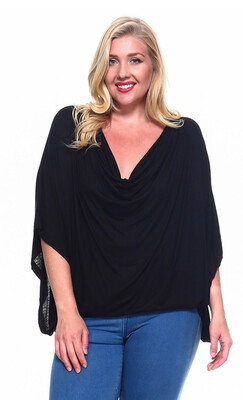 Black/Pink Dolmen Scoop Neck Plus Top