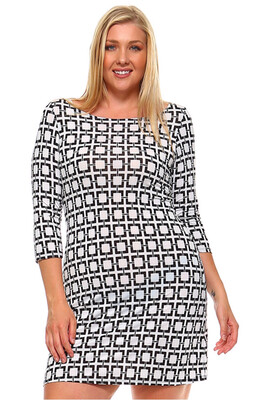 Elegant Patterned Plus Dress