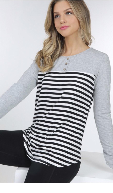 Heather Grey Striped Top