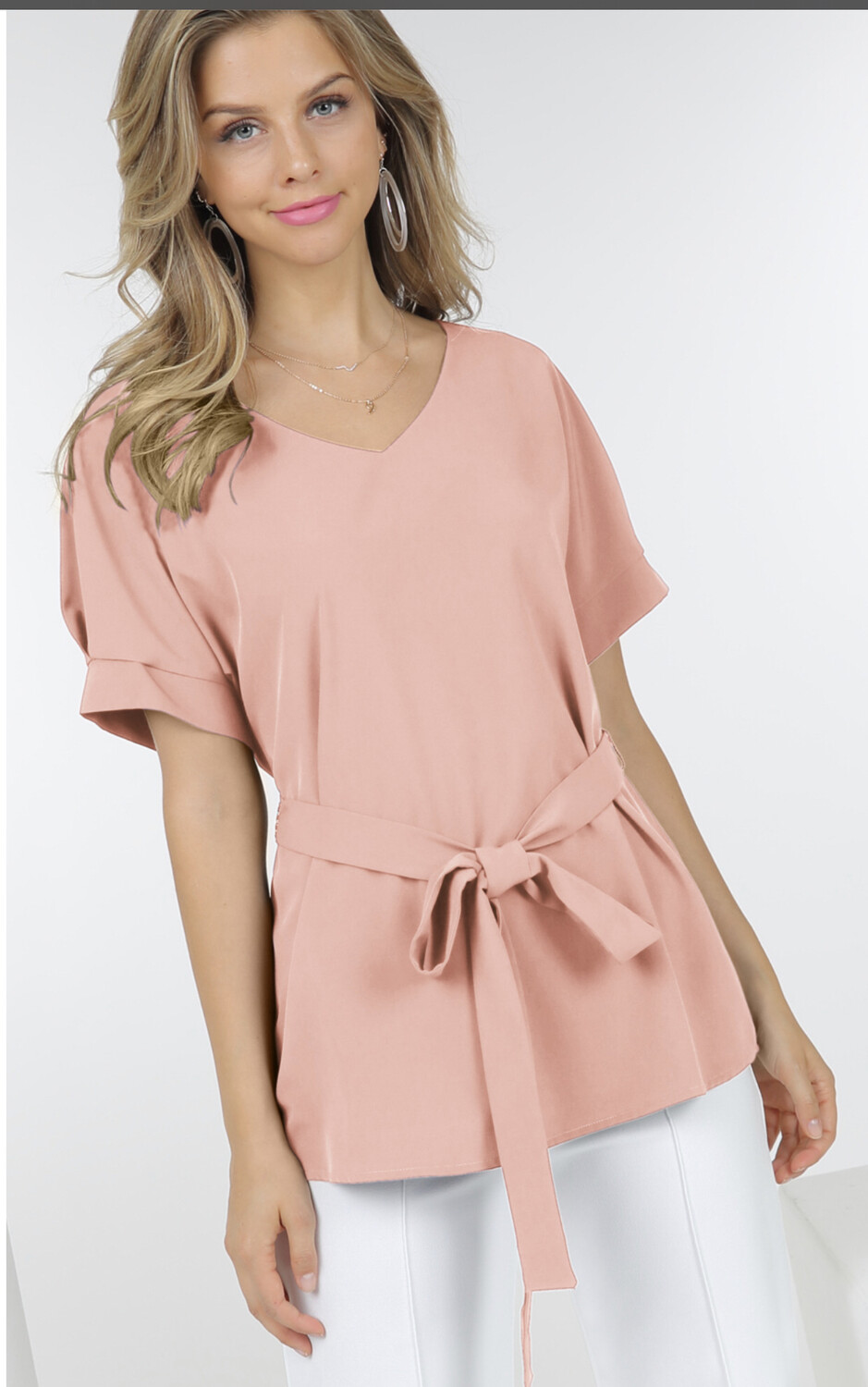 Woven Top With Belt