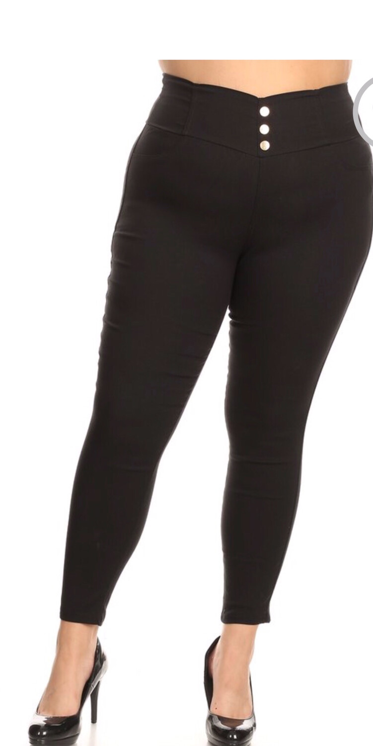 Black High Waisted Plus Jeggings