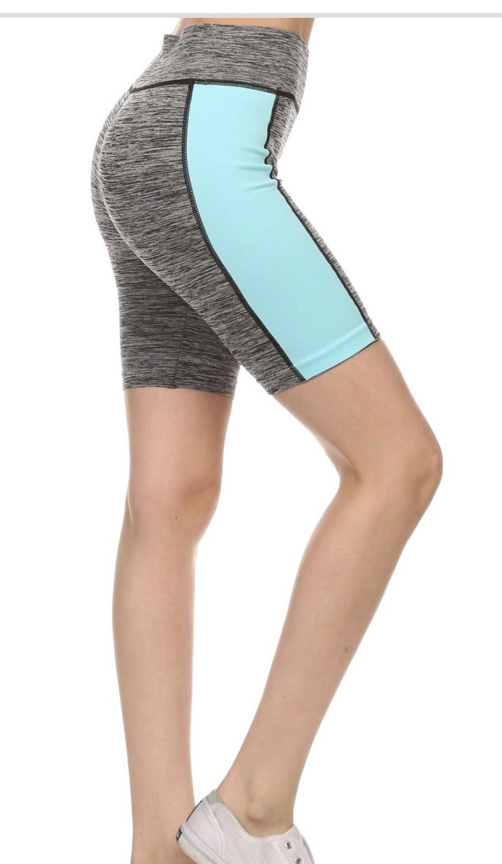 Mid Rise Athletic Shorts Aqua