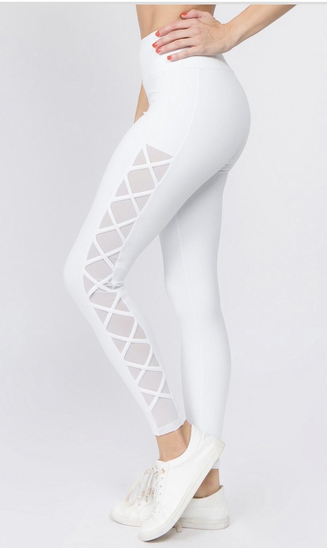 PREMIUM WHITE MESH LEGGINGS