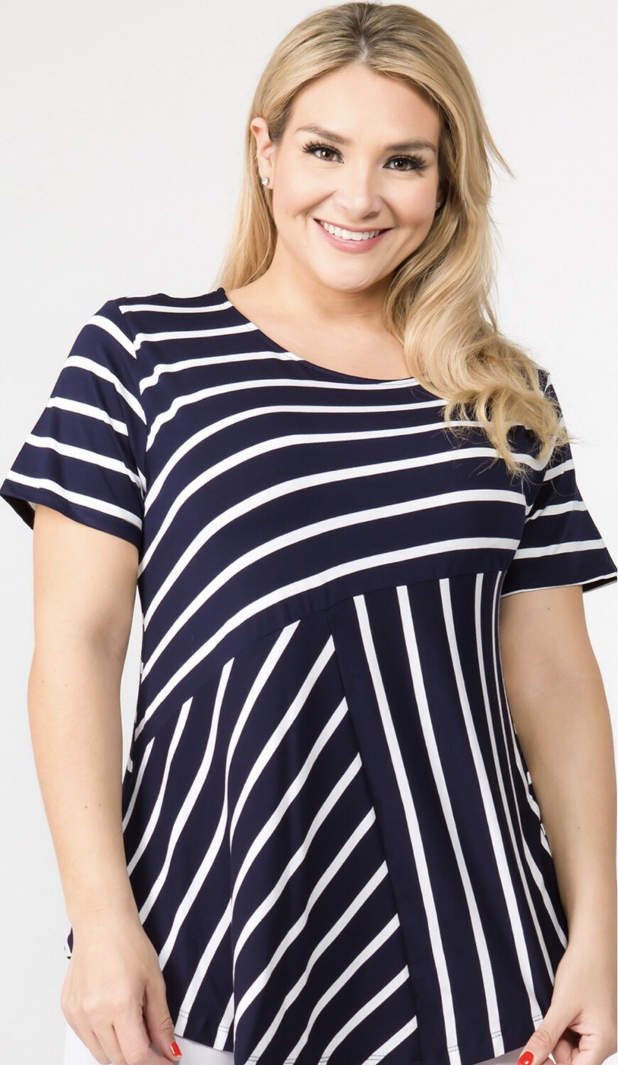 Mis-Match Striped Top Plus