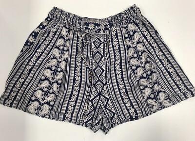 Navy & White Patterned Shorts