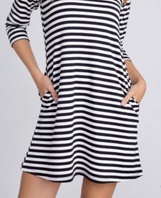 Striped Dress With Suede Elbows