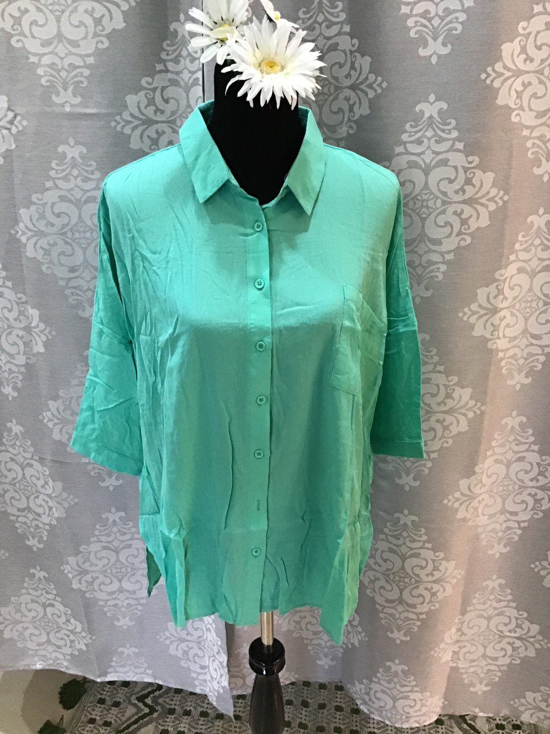 Teal 3/4 sleeve top