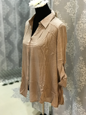 Taupe Ruffled back shirt