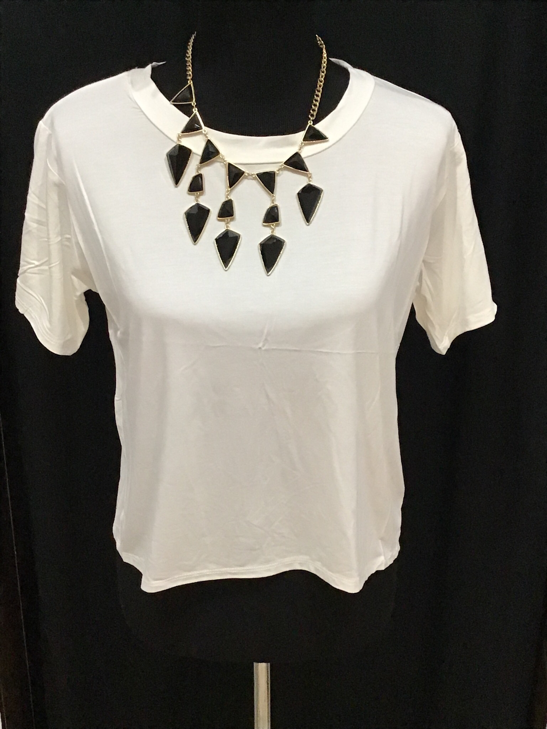 Cream crop top with open back detail
