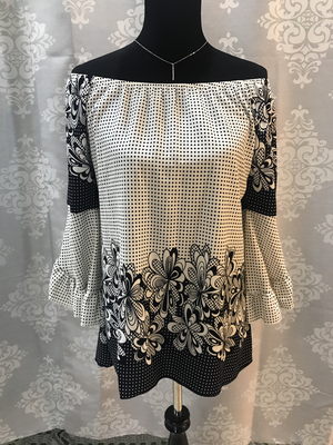 Cream and navy polk-a-dot top