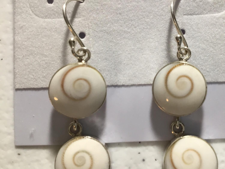 Sterling Silver Double Shiva Earrings
