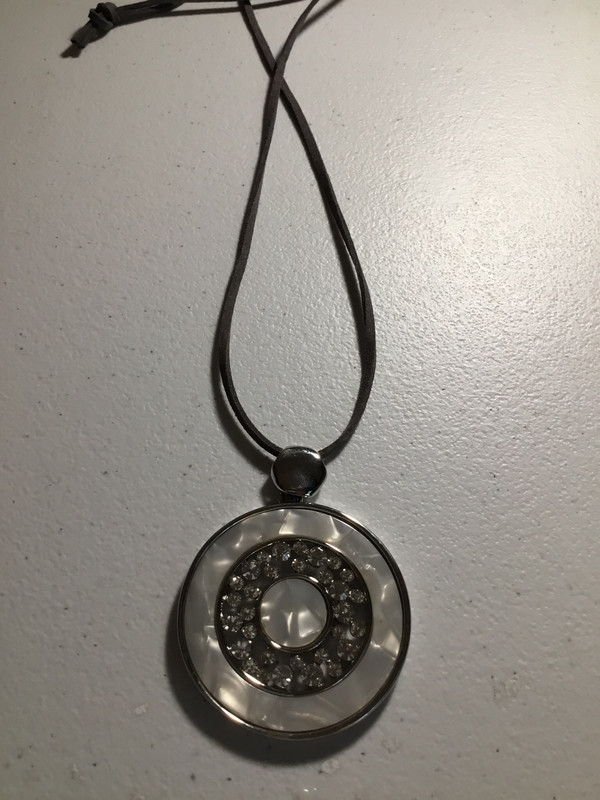 Leather Necklace with Mother of Pearl and Crystal Round Pendant