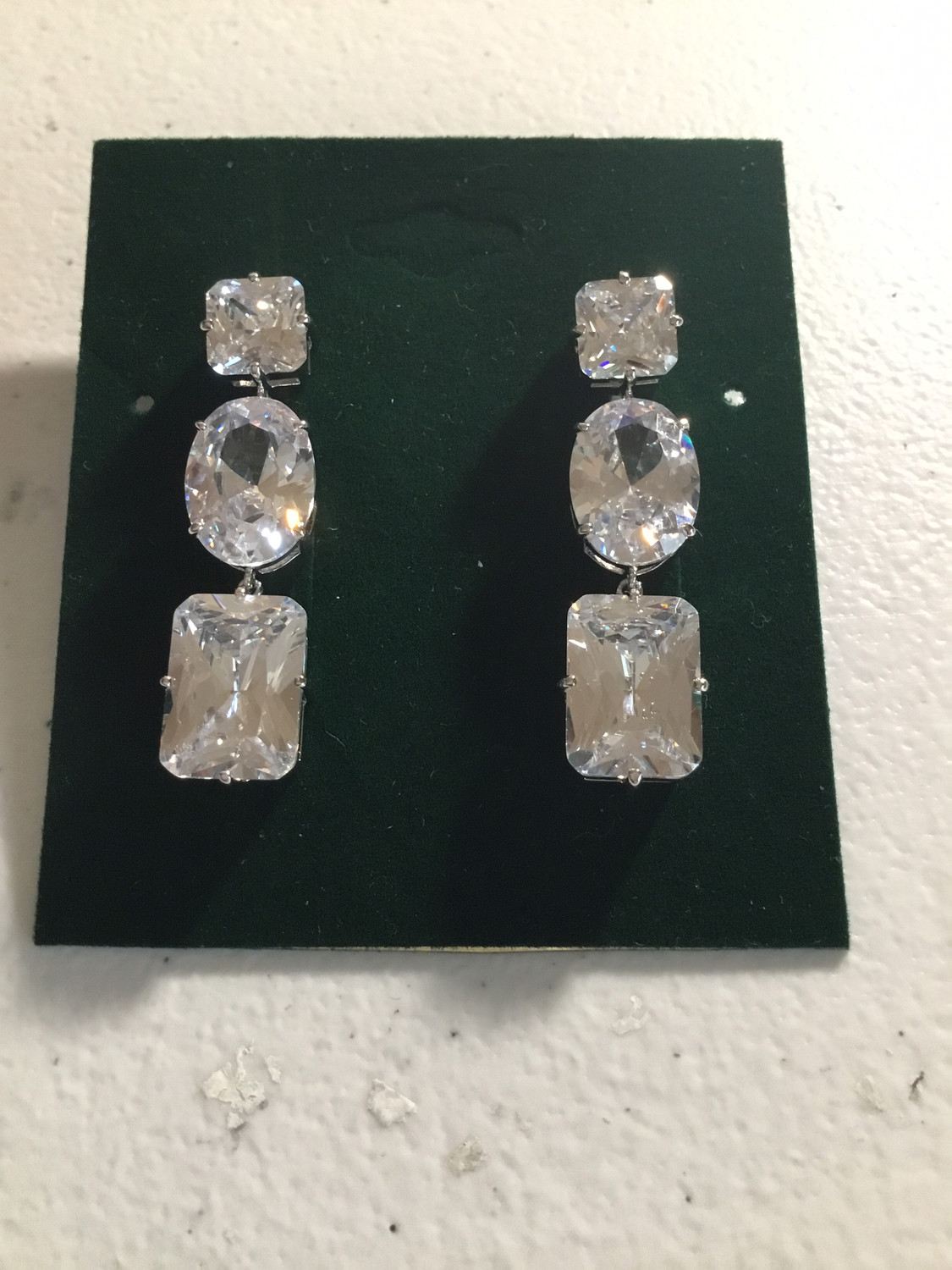 Three Oval, Square Crystal Earrings