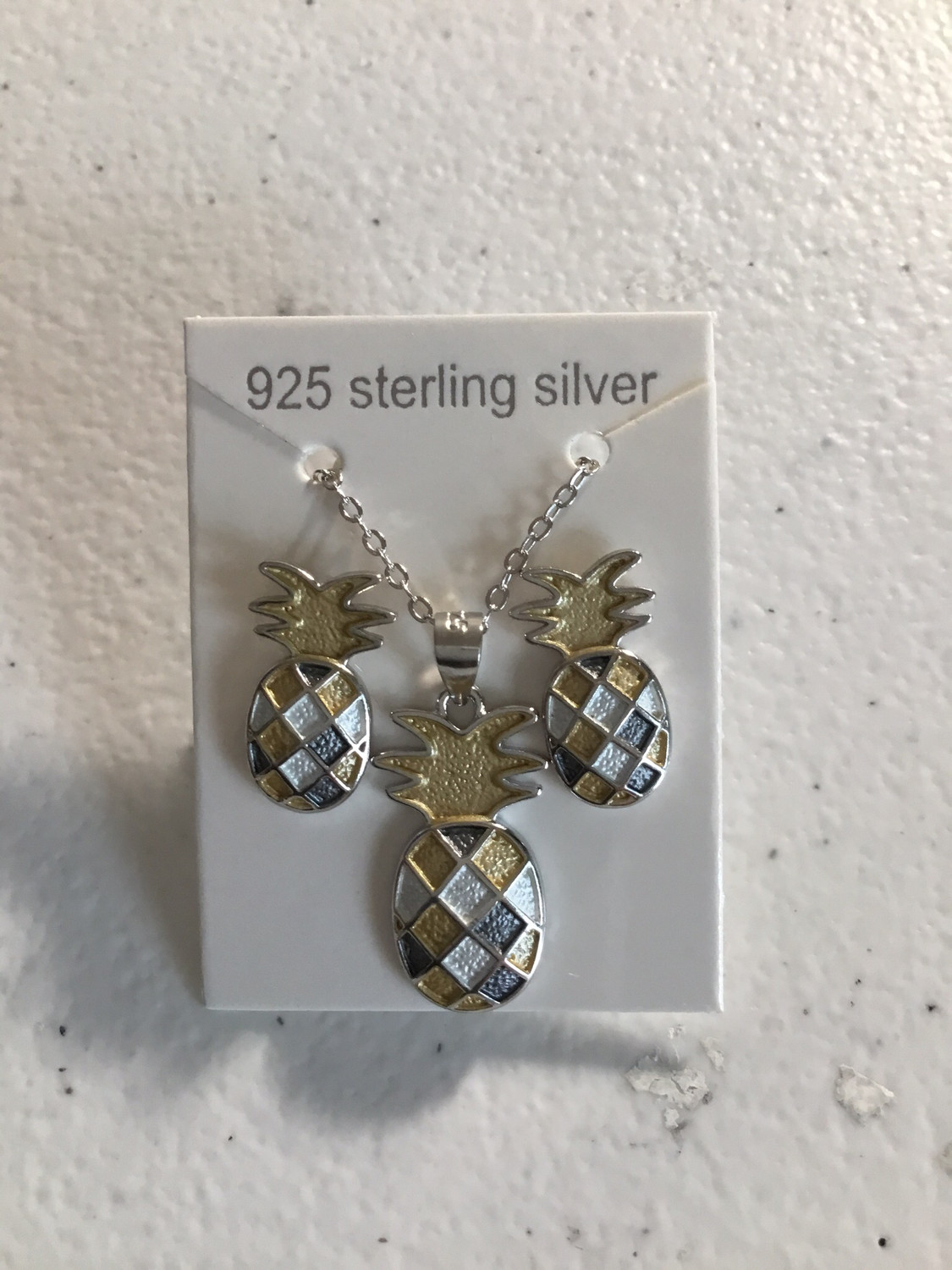 Tri-Color Sterling Silver Pineapple Earrings And Necklace Set