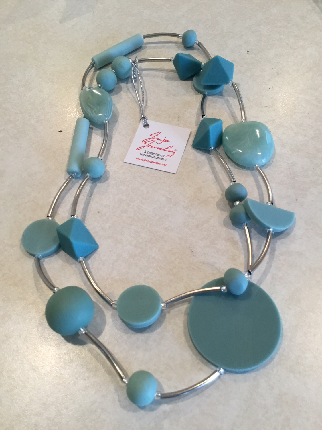 Stainless Steel Sage, Mint And Turquoise Handmade Beads