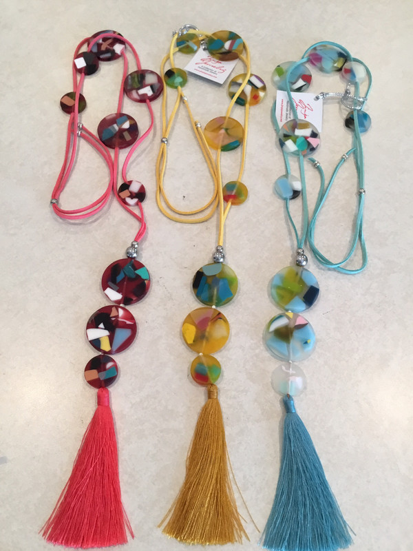 Long Adjustable Leather Necklace With Beautiful Sun Fun Beads And Tassel