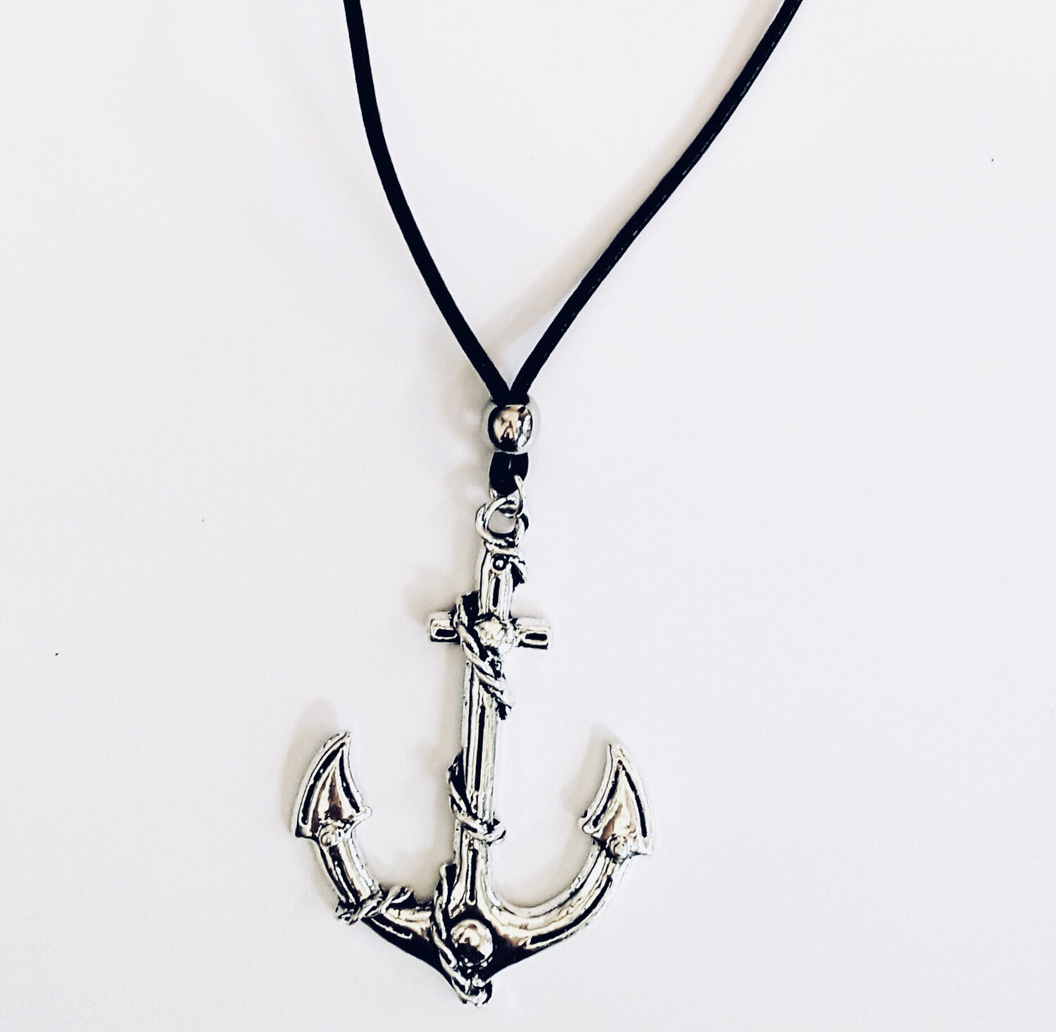 Black Leather Long Necklace With Anchor