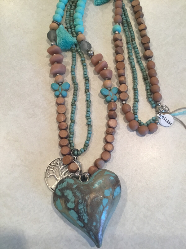 Wooden Handmade Two Layered Necklace With Mixed Beads, Stones, Charms And Heart