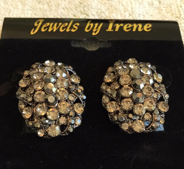 Dark Crystal Clip Earrings