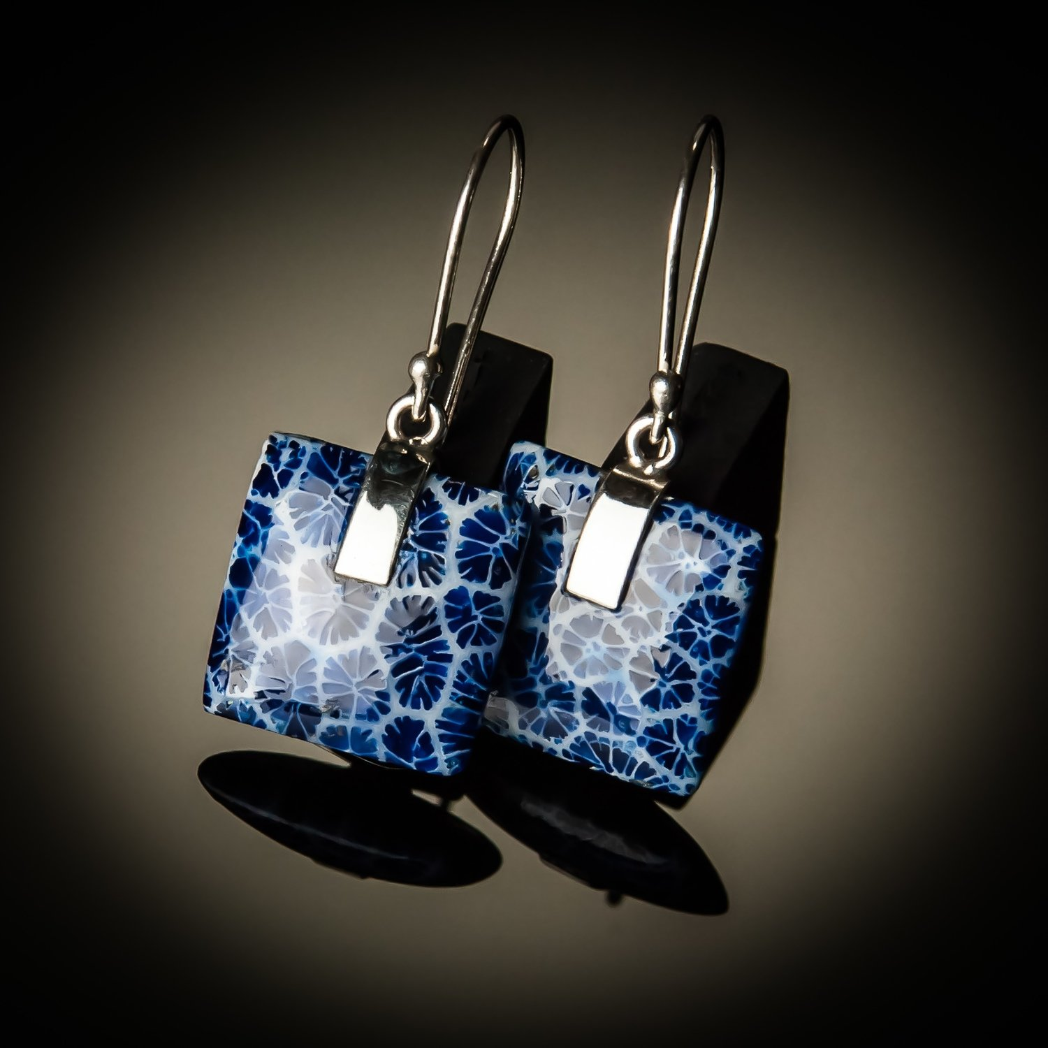 Blue Coral Square Sterling Silver Earrings- Large