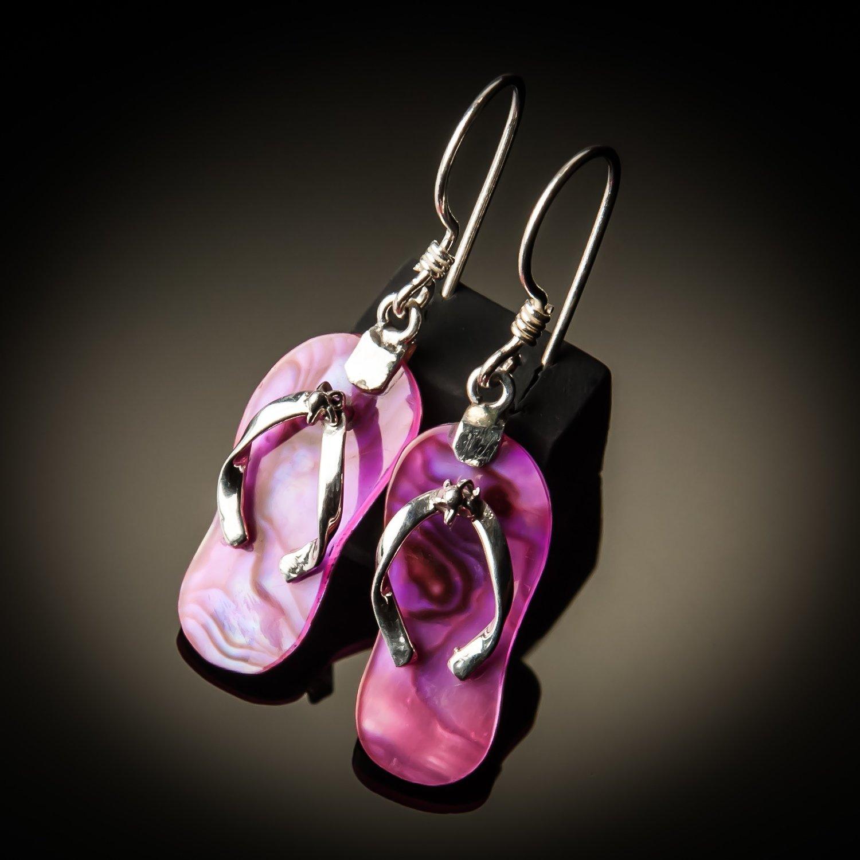 Pink Abalone Sterling Silver Earrings