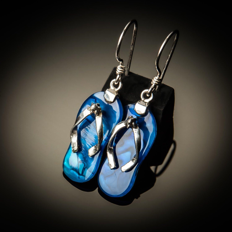 Blue Abalone Sterling Silver Flip-Flop Earrings