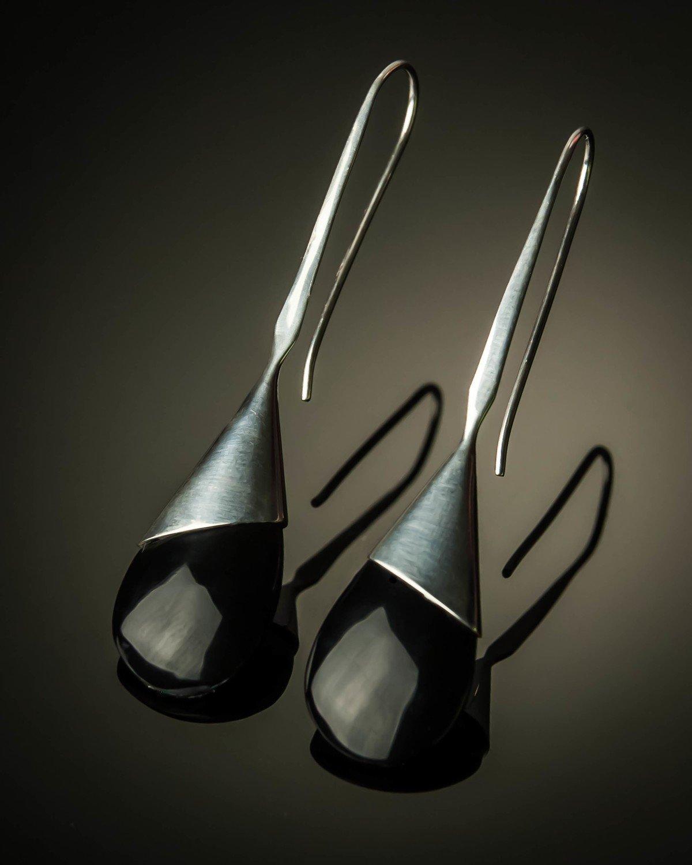 Long Handmade Teardrop Sterling Silver Earrings