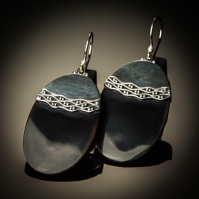 Black Shell Cross-Stitch Sterling Silver Earrings