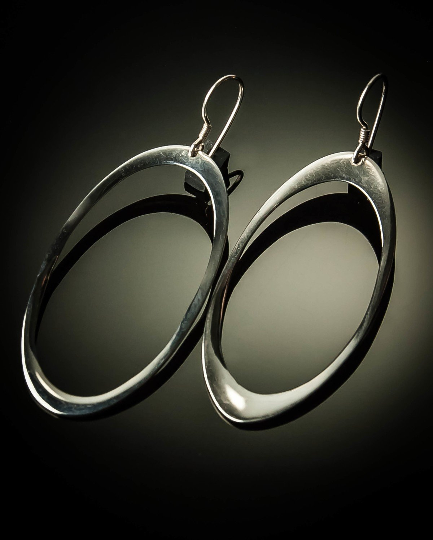 Oval Sterling Silver Earrings- Large