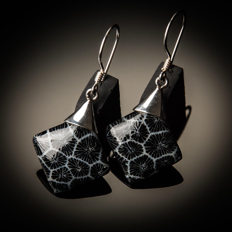 Black Coral Sterling Silver Earrings