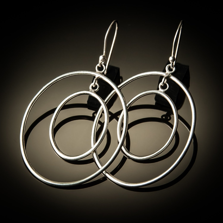 Double Hoop Oval Sterling Silver Earrings