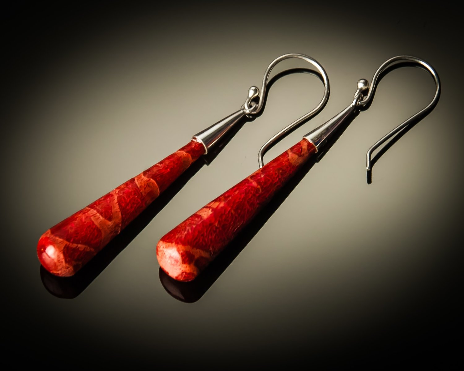 Red Coral Cone Sterling Silver Earrings- medium
