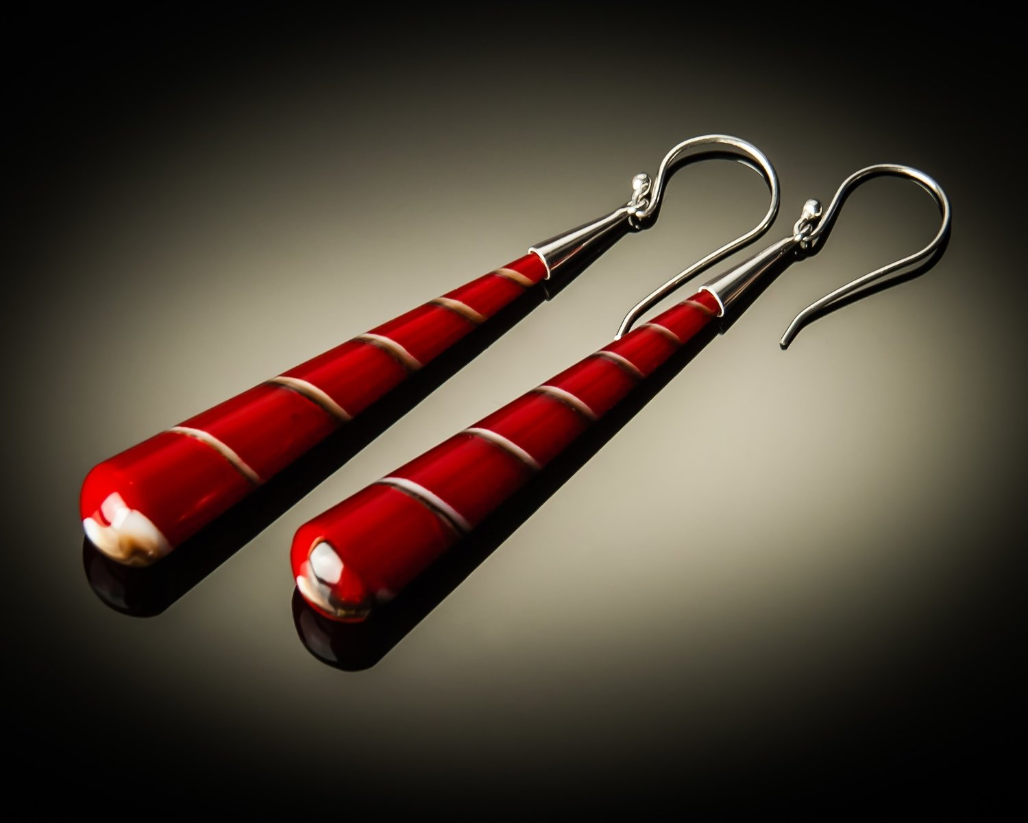 Red Shell Cone Sterling Silver Earrings- Large